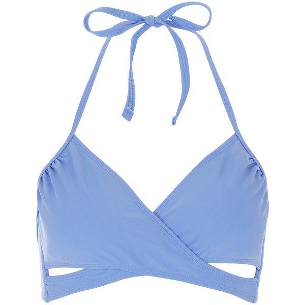 Accessorize Plain Wrap Bikini Top ($7.50) ❤ liked on Polyvore featuring swimwear, bikinis, bikini tops, blue, cut out bikini top, halter top, wrap bikinis, tankini tops and halter bikini