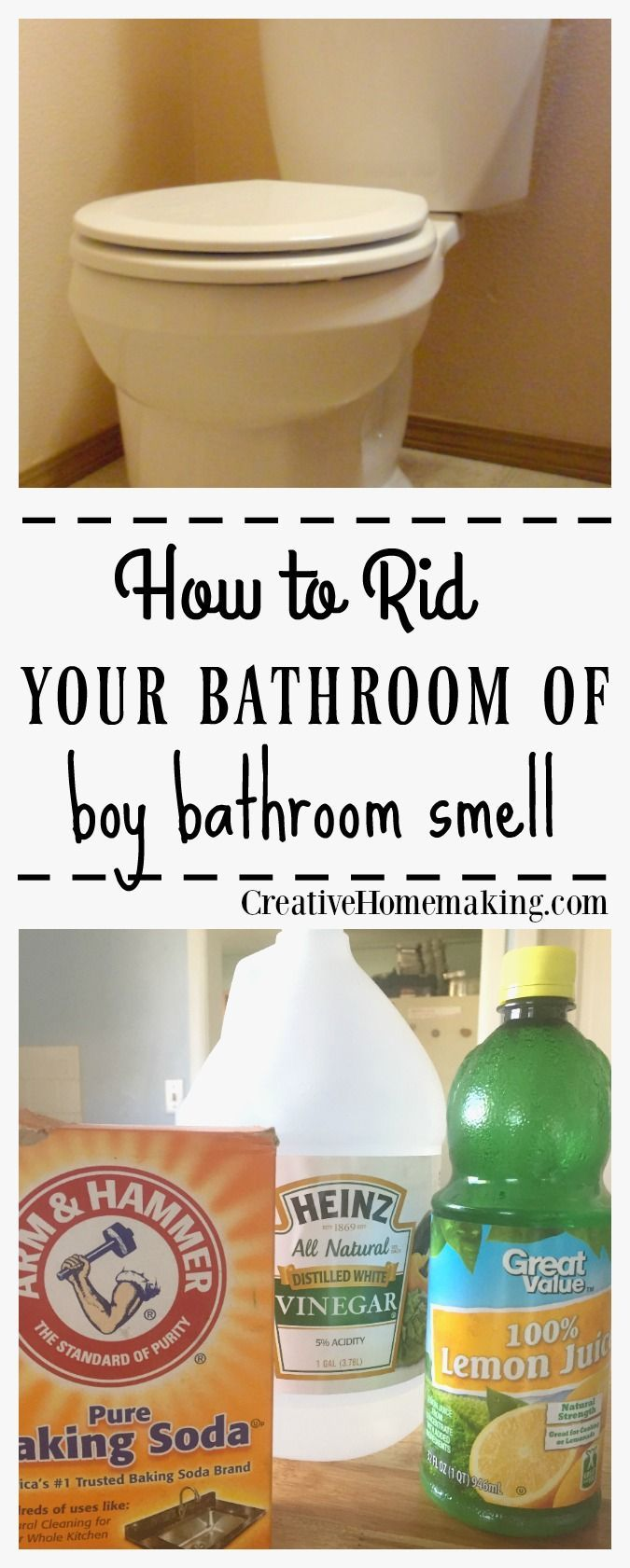 Easy DIY tip for ridding your bathroom of the dreaded 'boy bathroom smell'. #cleaningtips #bathroom #springcleaning