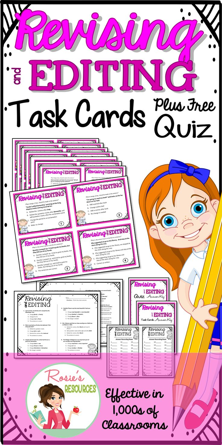These Revising and Editing Task Cards include a free bonus Quiz. They are perfect to practice for the STAAR writing test or for a learning station.