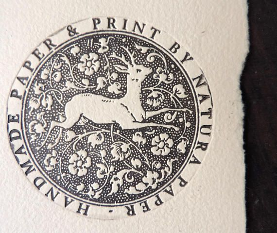 Stag engraving on handmade paper original print by Natura