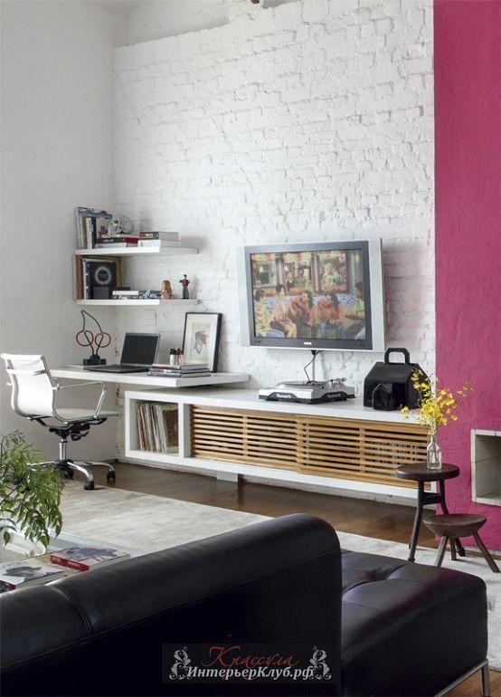 26  Белая кирпичная стена в интерьере гостиной, белые кирпичные стены в интерьере, дизайн интерьера с кирпичной стеной