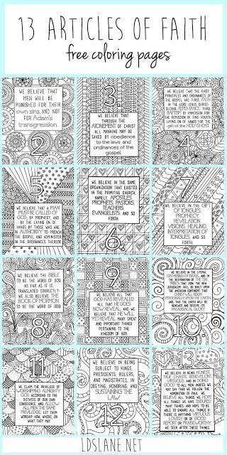 These are amazing! LDS Article of Faith Coloring Sheets