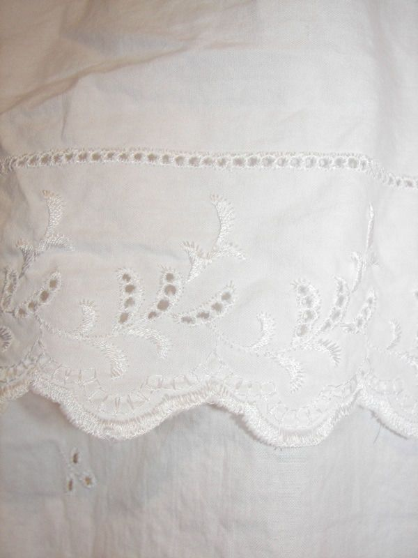 Vintage Victorian Chic French Country White Eyelet Hemstitch Lace Shower Curtain