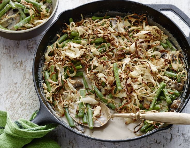 Best Ever Green Bean Casserole Recipe : Alton Brown : Food Network - FoodNetwork.com  will substitute the chicken broth with veg broth