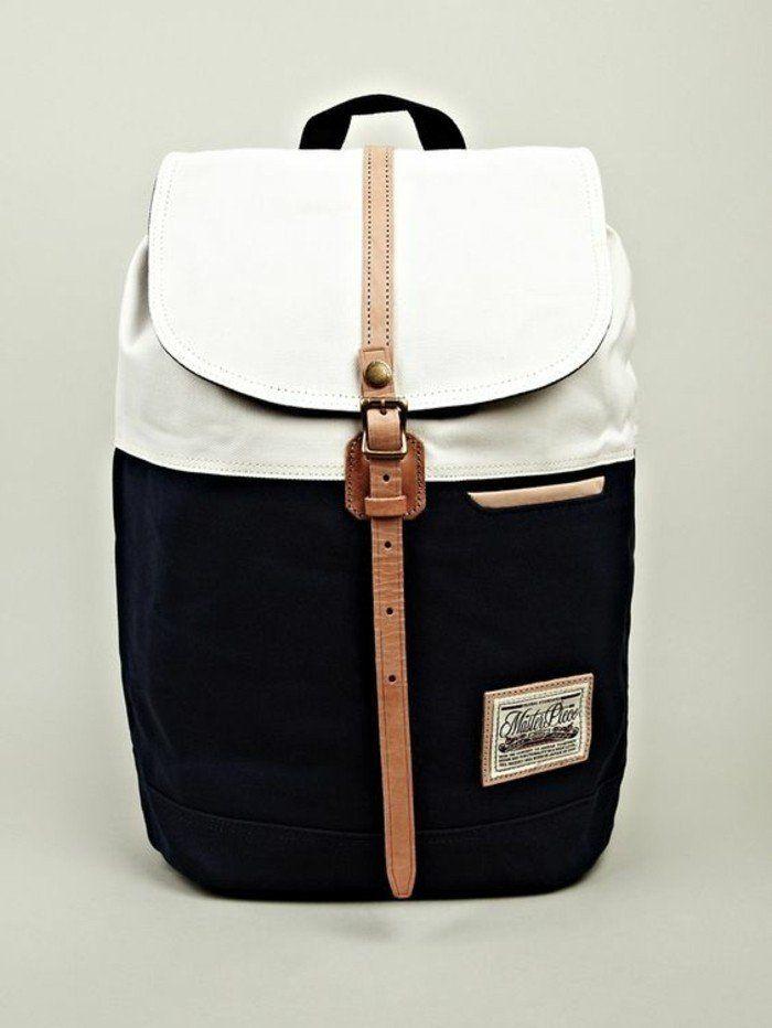 sac à dos femme en blanc et noir, sac a dos femme cuir blanc et noir