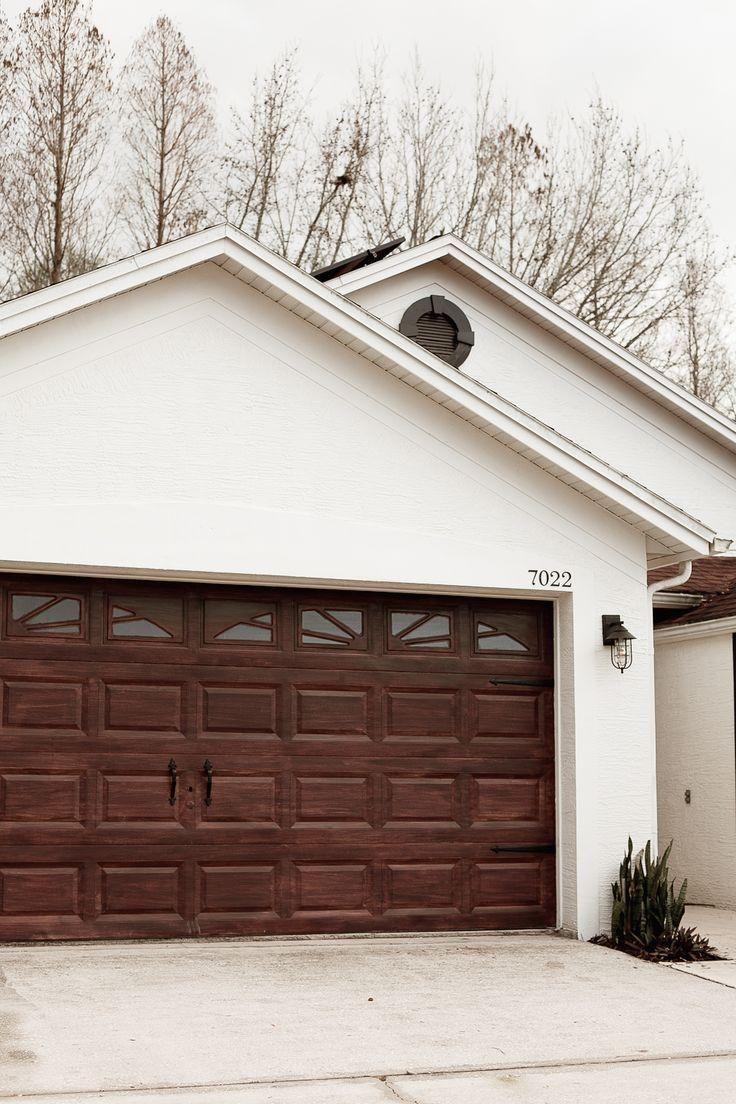 Garage Door Br Tips For A Diy Garage Door Makeover And How To Gel Stain A Garage Door To Look Like Wood By In 2020 Diy Garage Door Garage Door Makeover Garage