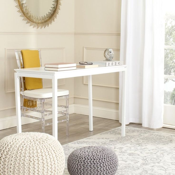 The solution for clean-lined sophistication in transitional or contemporary rooms, the white Duke desk is a modern update of the classic Parsons table.