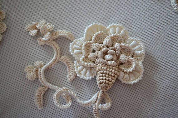 Set flower 15pcs Сrochet flower Irish crochet Flower applique