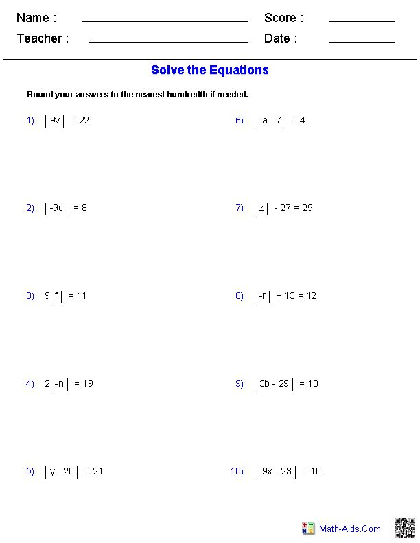 solving equations and inequalities worksheet algebra 2 absolute value worksheets and equation. Black Bedroom Furniture Sets. Home Design Ideas