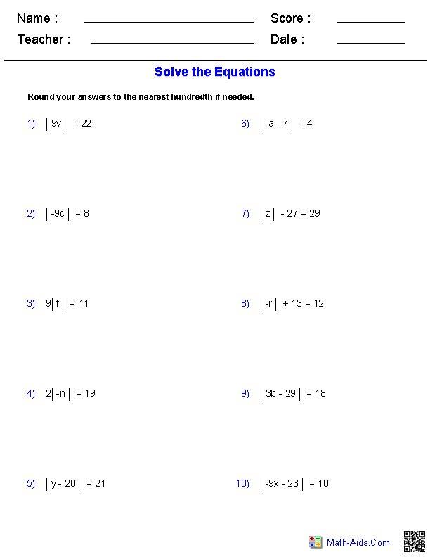 Worksheets Absolute Value Practice Worksheet absolute value equation and worksheets on pinterest