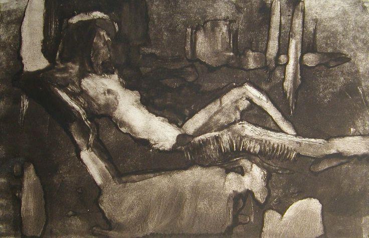 """Frank Hobbs, """"Figure Study,"""" monotype, 9 x 11 in."""