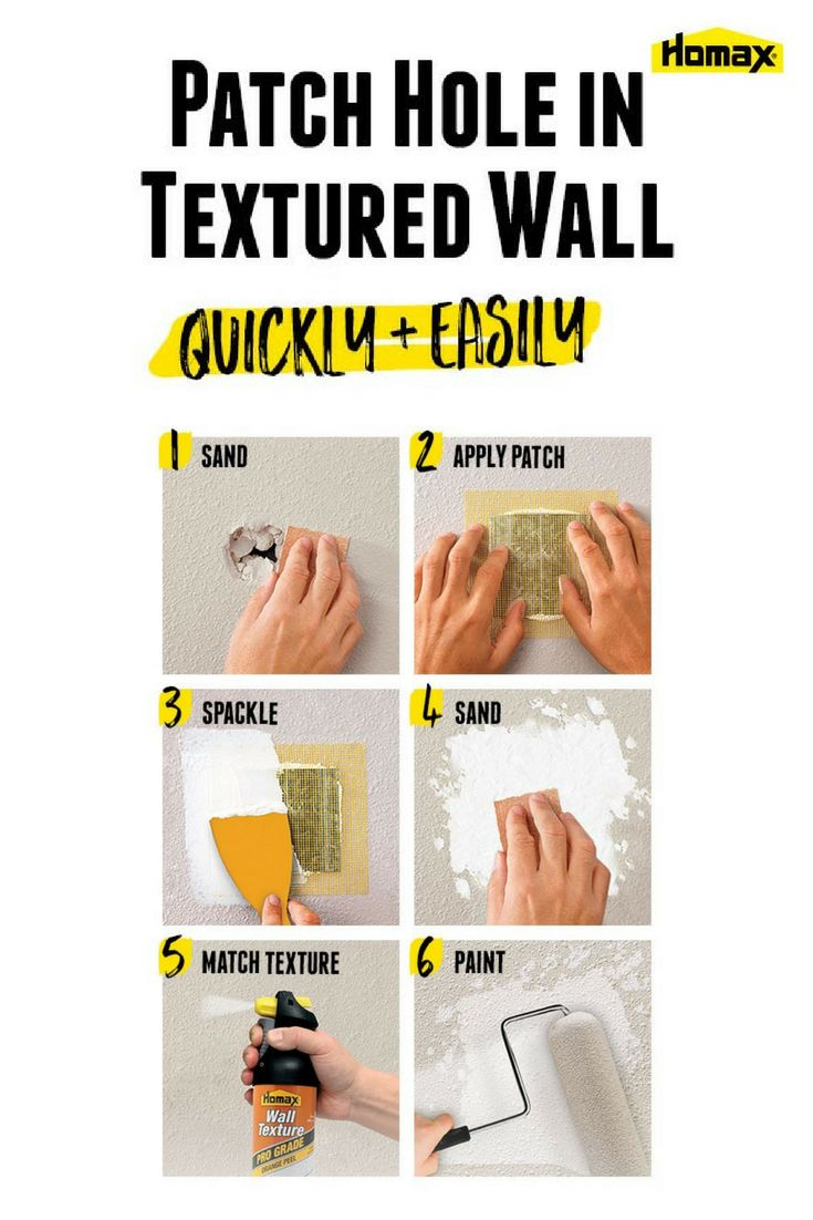 How to Patch Holes in Drywall   whether from door knobs, roughhousing kids or water damage, holes in walls and ceilings happen. Fortunately, fixing holes in drywall doesn't require a lot of skill or time. With the right supplies, it's a cinch to get your wall back to the original condition. Click to learn tips and tricks from Homax® to help make tough home improvement tasks and repairs easier.