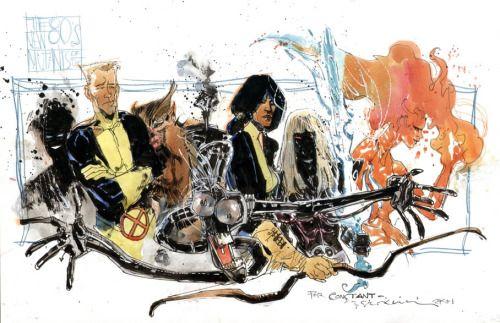 The New Mutants by Bill Sienkiewicz: Sunspot, Cannonball, Wolfsbane, Warlock, Mirage, Illyana, and Magma by Bill Sienkiewicx.