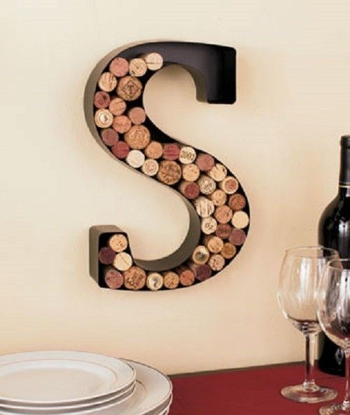 Hanging Wine Cork Holder Metal Monogram Wine Themed Kitchen Home Decor