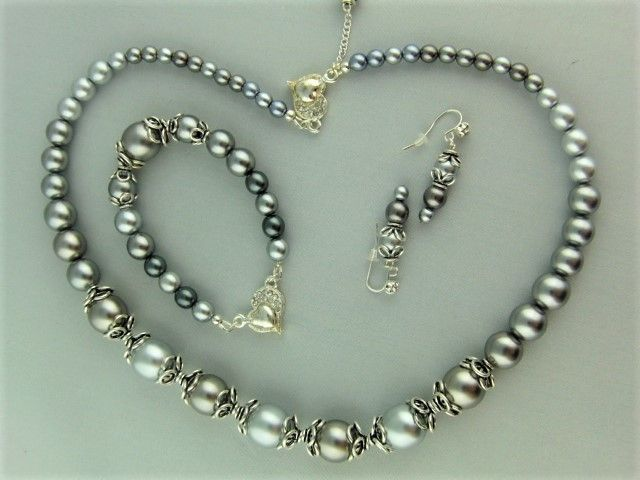 Silver Grey Pearl and Silver Bead Cap 3 Piece Bridal Jewellery Set £35.00