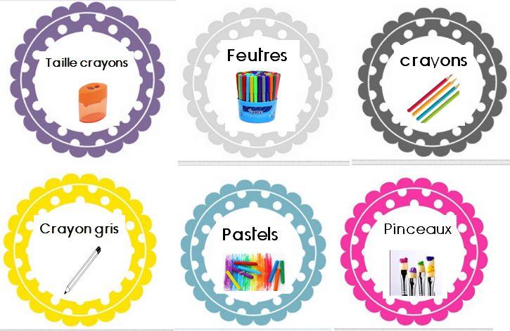 French Supply Labels - classroom organization - Des étiquettes pour tout classer