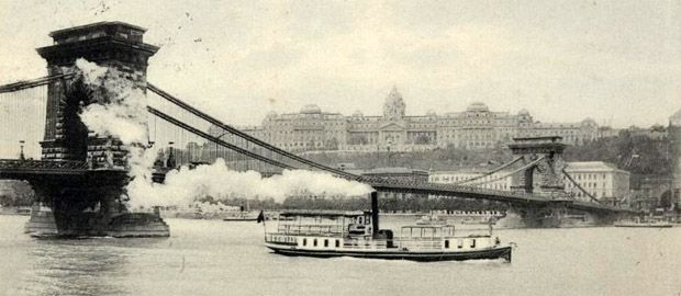 Chain Bridge with steamboat. 1890 #Budapest #Hungary #vintage