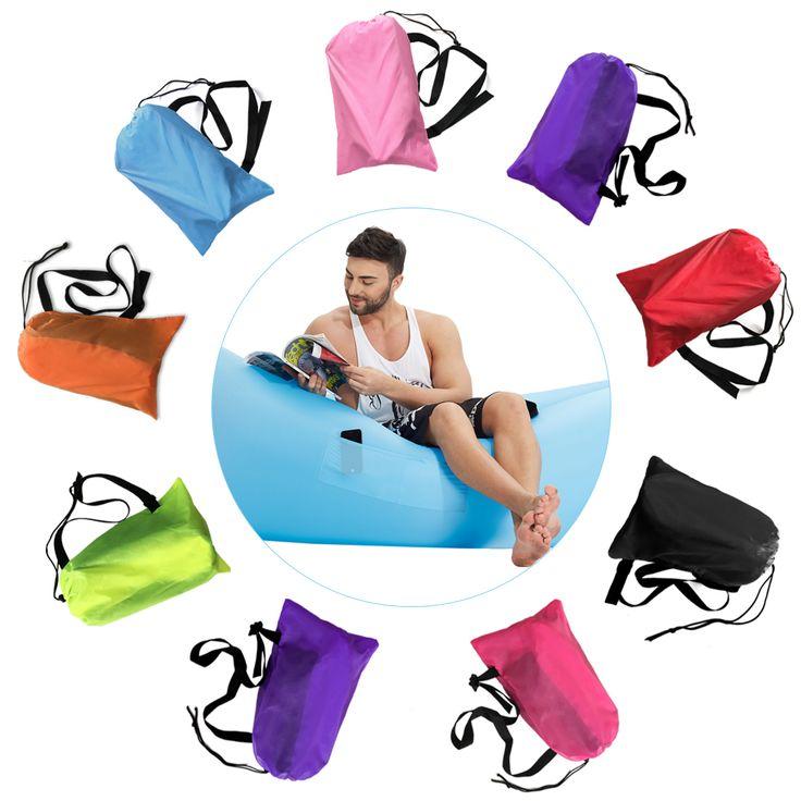 Cepat hangout Berkemah Tidur Tiup Tidur Udara Sofa Pantai Tidur pisang Kantong tidur Laybag Malas Lounger Tidur Udara Dengan Sisi saku