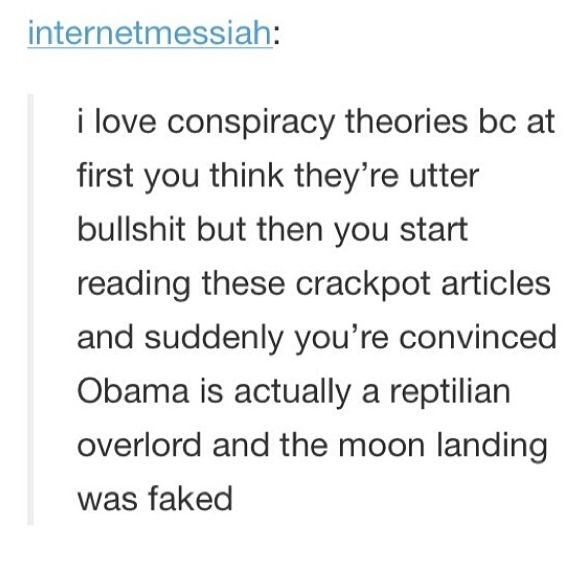 I literally love reading conspiracy theories bc those ppl spend so much time researching and like a lot of them make so much sense ya know