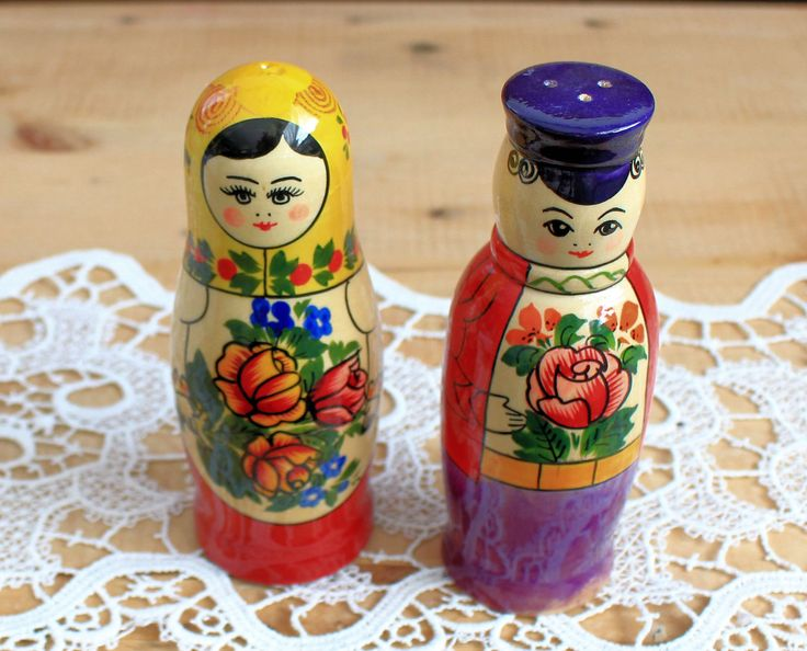 Wooden Salt and Pepper Set, Hand Made, Hand Painted,Matryoshka Style,Russian Art, Souvenirs ,1990s, Vintage Salt and Pepper,Collectable by TreasuresByJana on Etsy