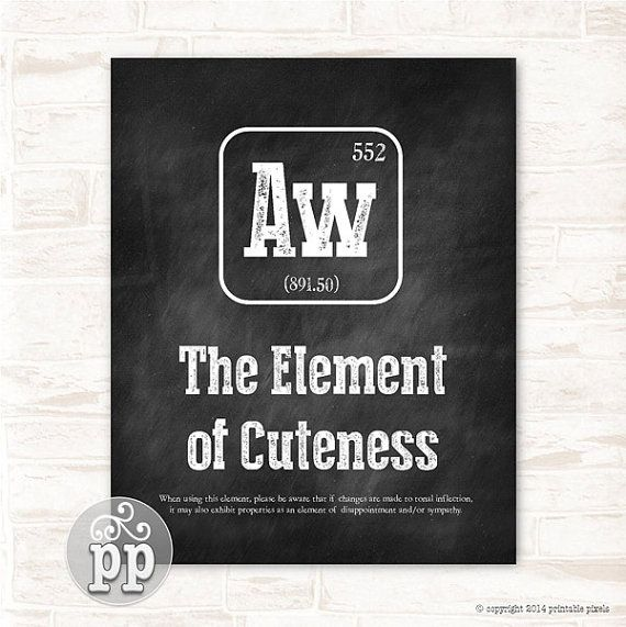 Periodic Table Aw The Element of Cuteness Typographic Chalkboard Funny Quote Wall Decor Teacher Art Science Instant Download Printable