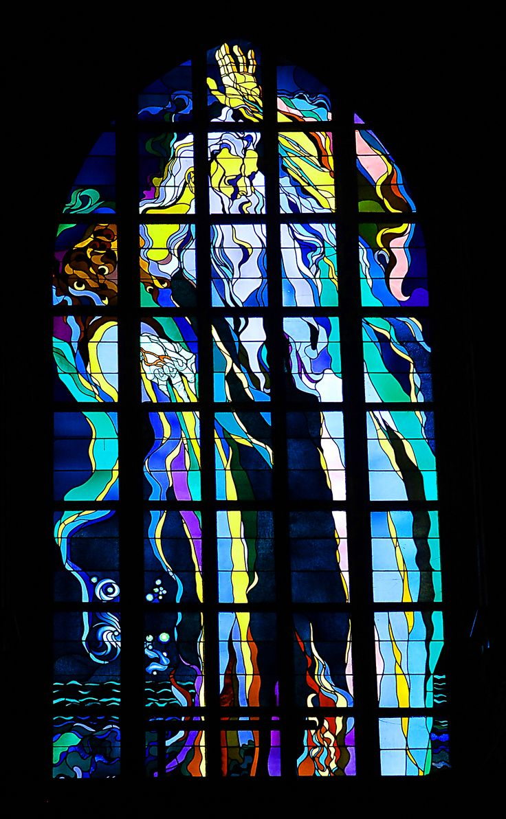 """Stained Glass """"God the Father in the Act of Creation"""" by Stanislaw Wyspianski, St. Francis Basilica in the city of Cracow (Kraków), Poland"""