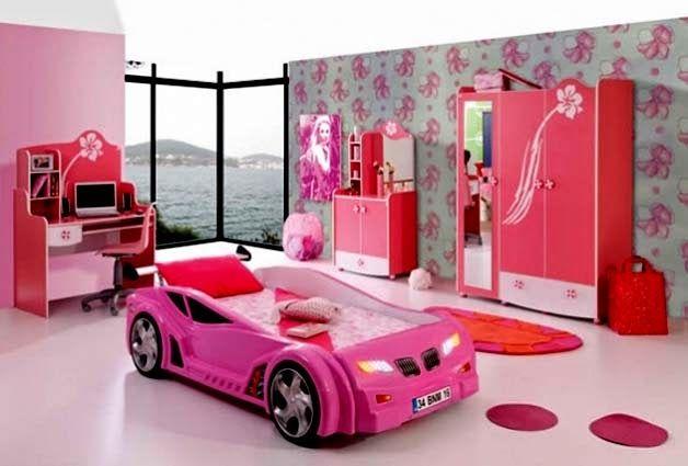 Para las niñas que les gustan los autos rosas esta es su habitacion!!