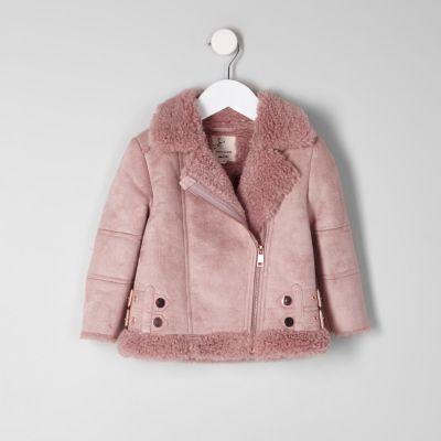 Mini girls pink faux suede aviator jacket - Baby Girls Coats & Jackets - Mini Girls - girls