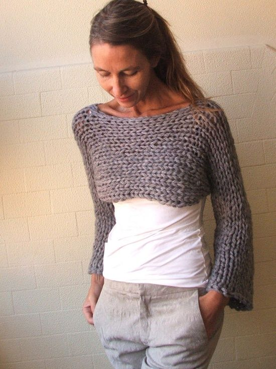 Stoney Isle Chunky bamboo mix shrug/cropped sweater by ileaiye, $75.00.
