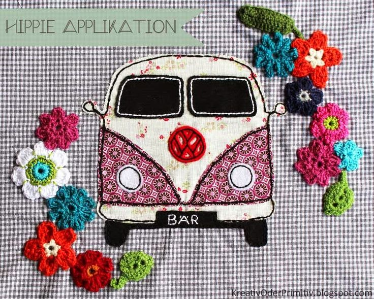 applikation vw bus hippie blumen flower power n hen. Black Bedroom Furniture Sets. Home Design Ideas