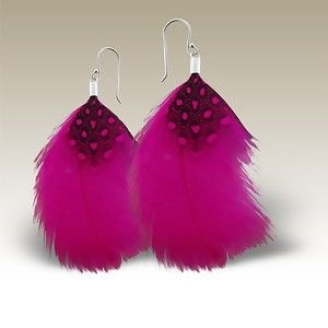 Pink Feather Silver Earring A$20
