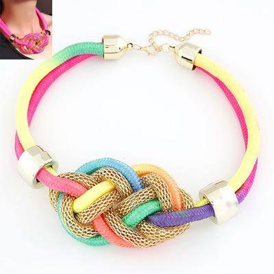 Choker Forever21 Expression Multicolour Fluorescence Color Weave Design Necklaces