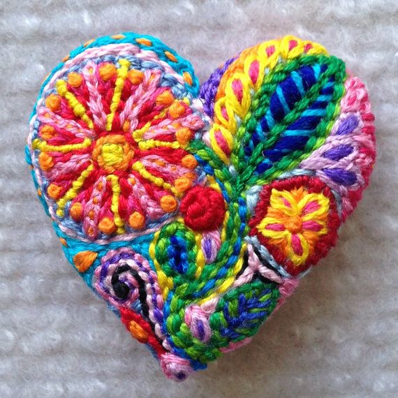 Freeform embroidery heart brooch Brooch 70 by Lucismiles on Etsy, $23.00