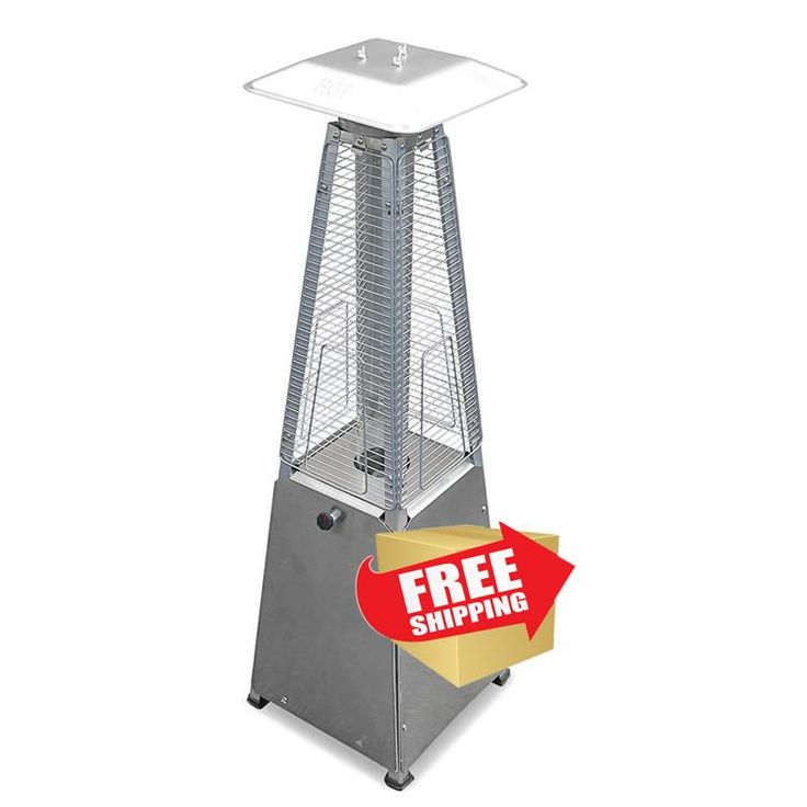 """39"""" Radiant Heat Glass Tube Tabletop Patio Heater in Stainless Steel"""