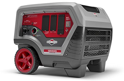 Briggs & Stratton Q6500 Inverter Generator - 6500 Starting Watts QuietPower Series Portable Generator for Home Backup  Quiet, portable inverter generator delivers 6,500 starting watts of reliable home backup power  QuietPower Series inverter technology and a noise-reducing shell give you power that's more than 60% quieter than standard generators  Design is 45% more compact & 30% lighter than standard generators  Highly-efficient 306cc Briggs & Stratton integrated engine/alternator pro...