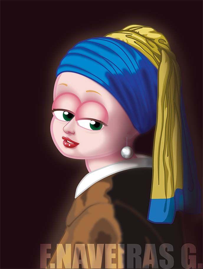 """""""Joven de la perla"""", ilustración versionnada del cuadro de Johannes Vermeer"""