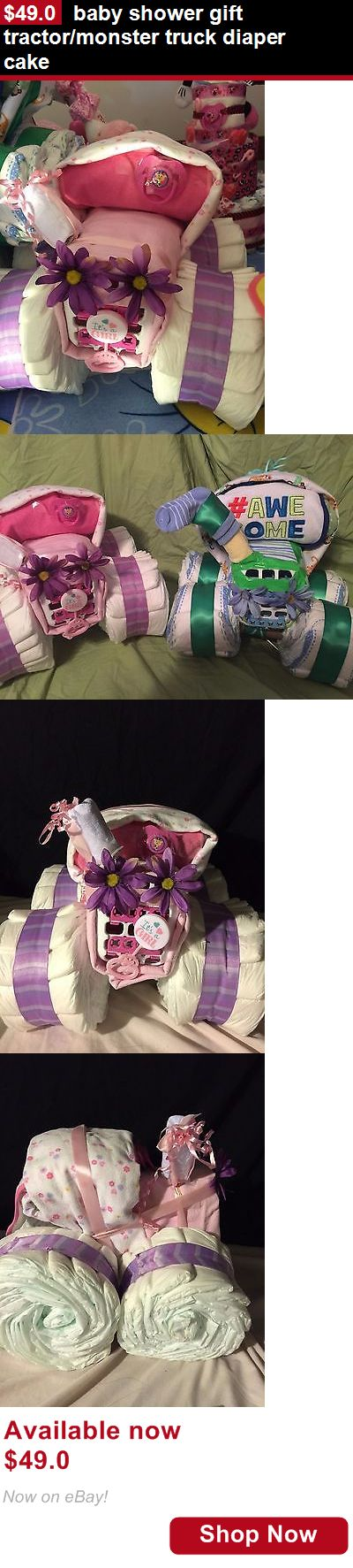 Baby Diaper Cakes: Baby Shower Gift Tractor/Monster Truck Diaper Cake BUY IT NOW ONLY: $49.0