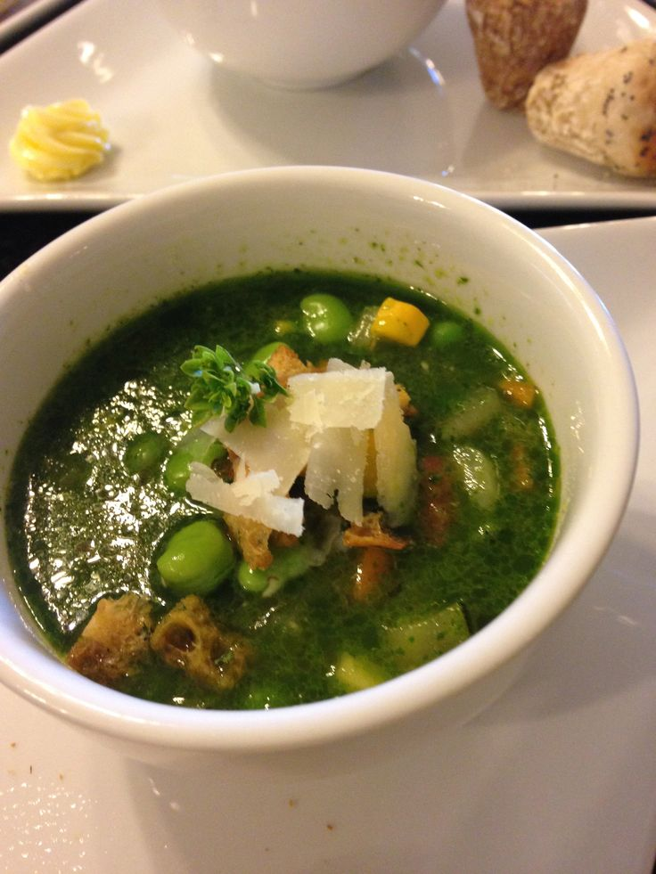 Pistou soup for starter was served, topped with ciabatta croutons, micro basil and parmesan shavings - nothing was left!
