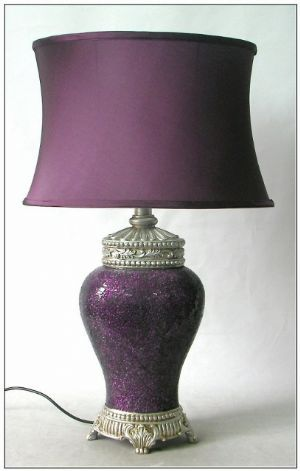 Harlow - Crushed Glass Purple Table Lamp With Purple Oval Shade