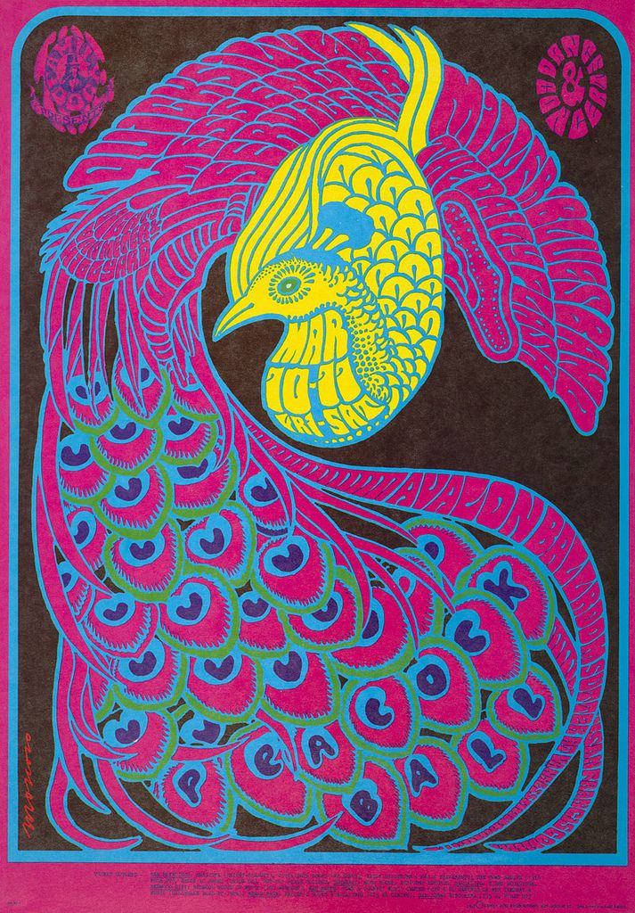 "Family Dog: ""Peacock Ball"". Quicksilver Messenger Service, Miller Blues Band 10-11- March-1967. Artist: Victor Moscoso"