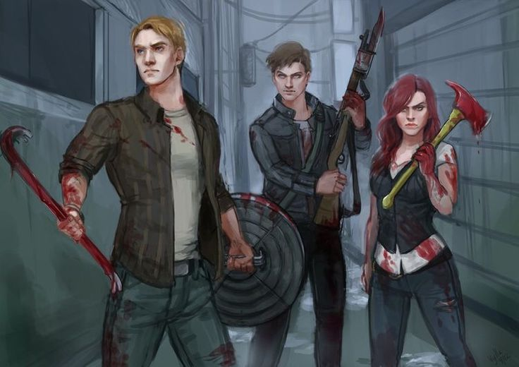 Steve, Natasha, and Bucky getting their Zombie Apocalypse on.