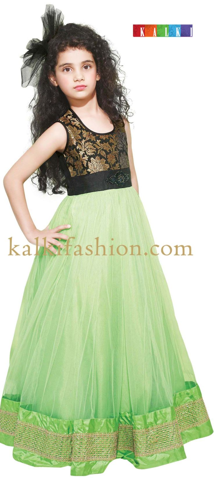 Buy it now http://www.kalkifashion.com/green-gown-with-embroidered-brooch.html Green gown with embroidered brooch