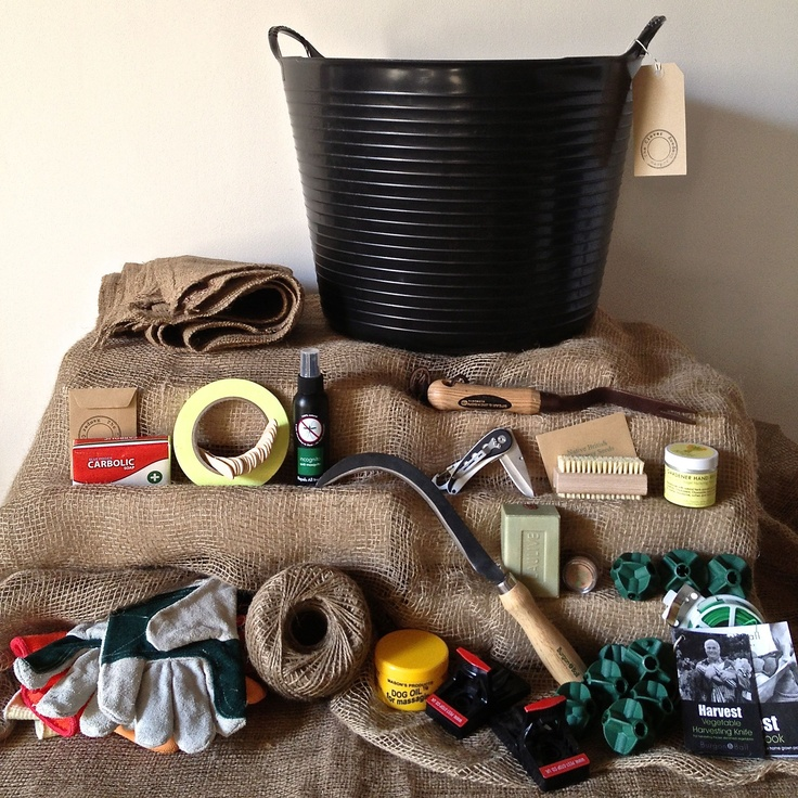Allotment gardener hamper. Packed full of immensely practical stuff! www.thecleverhampercompany.co.uk
