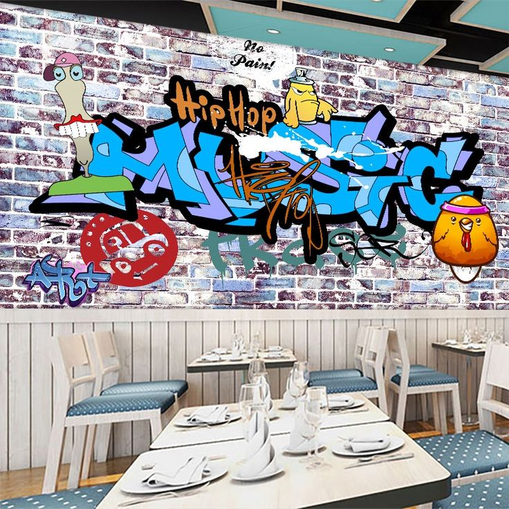 19.00$  Watch here - http://aliz2t.shopchina.info/go.php?t=32731931895 - Free Shipping 3D Personality style graffiti mural coffee  shop restaurant bar wallpaper retro wall brick style wallpaper mural  19.00$ #buychinaproducts