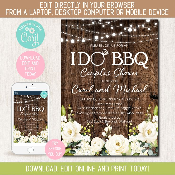 Online Editable Couples Shower Bbq invitation, Barbecue, Engagement Party, Wedding shower, Any wording, Yourself editable with Corjl – 1932