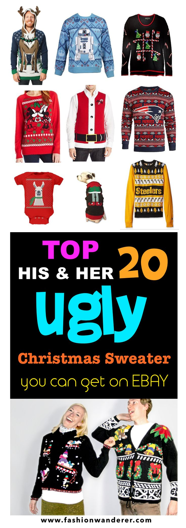 his & hers ugly Christmas sweaters. Star Wars, Funny, Couple, Cute, Inappropriate, Reindeer,Baby, Grinch, With Lights all sorts of various sweaters you can choose from! Win the party awards.