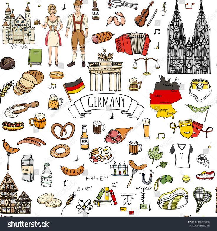 Nahtlose Muster hand gezeichnete Doodle Set von Deutschland-Ikonen. Vektor-Illustration gesetzt … ebd31ab92708f5556318a75cb277d5ab