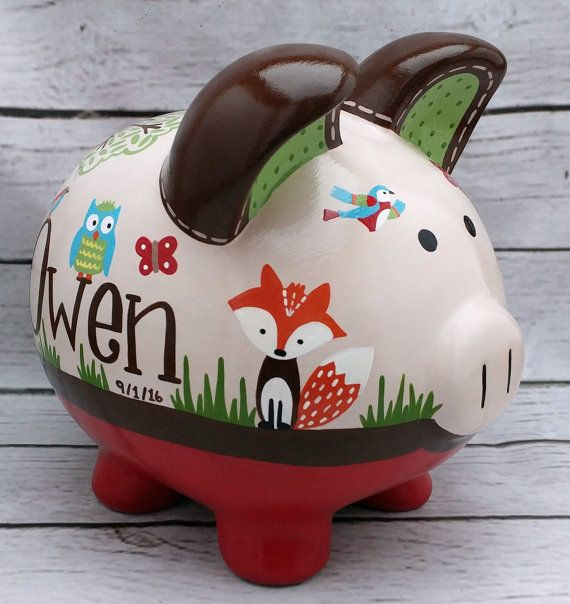 piggy bank woodland animals artisan by