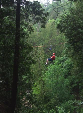 ziplining over the Elora gorge near fergus and guelph ontario. zip line across the elora river!