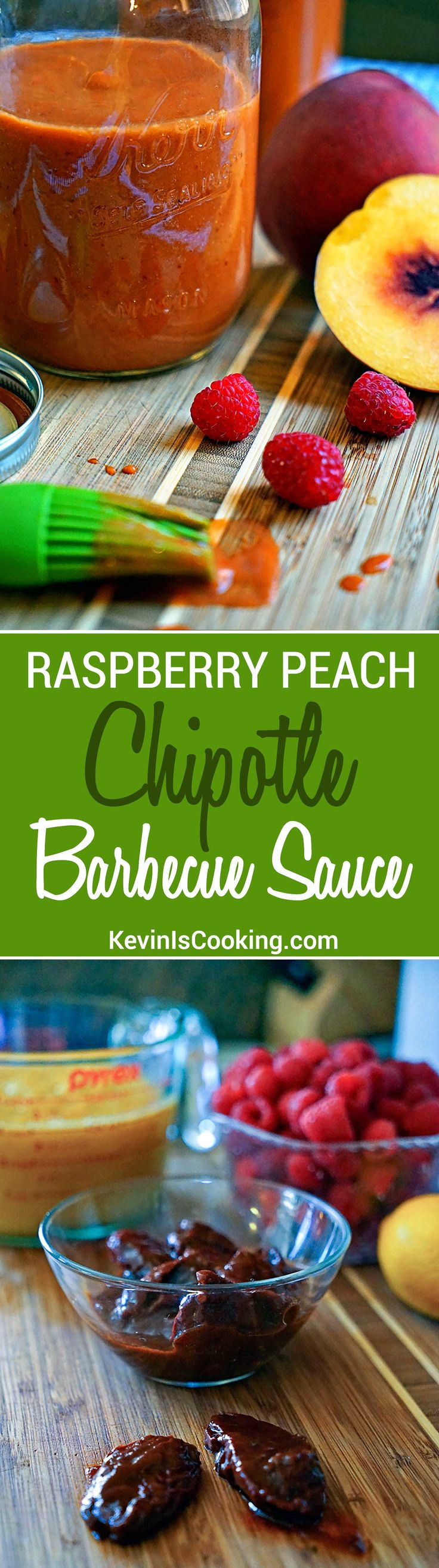 Finger licking good Raspberry Peach Chipotle BBQ Sauce with just enough heat and tangy fruit flavor to keep you reaching back for more.
